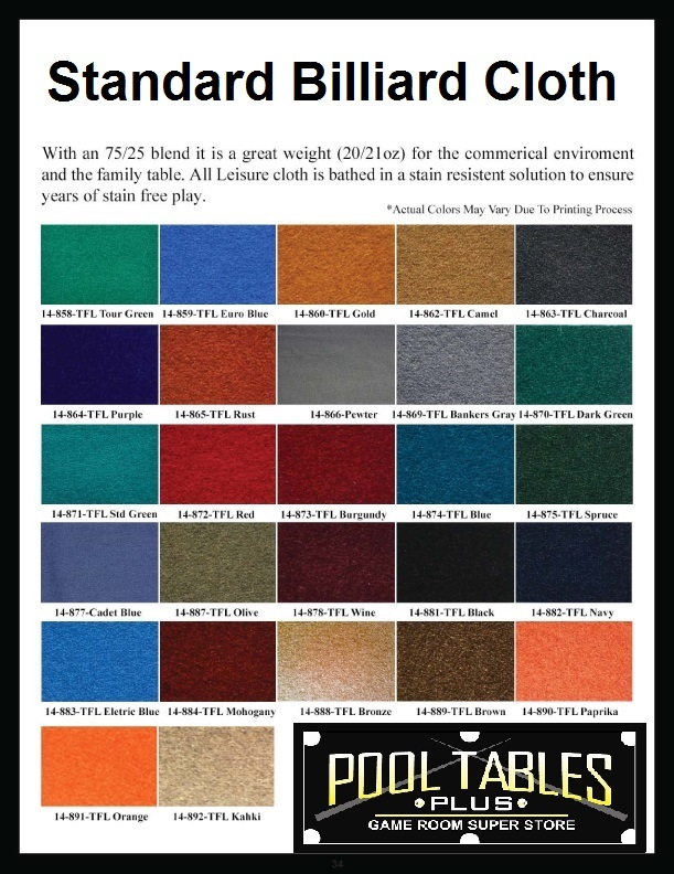 Cloth Color Chart - Pool Tables Plus - Daytona Beach, FL