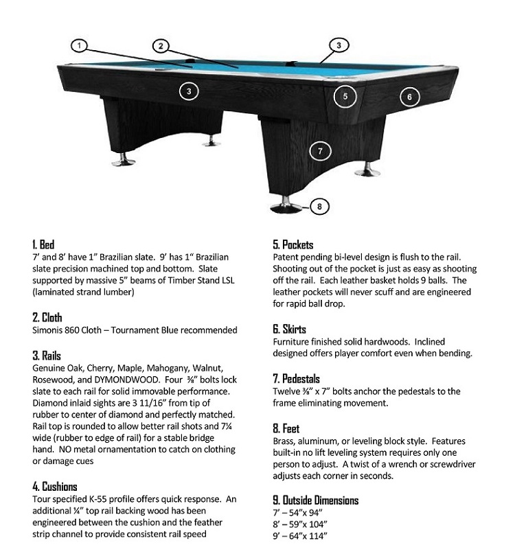 DIAMOND Professional Oak Wood Pool Table - Pool table leveling system