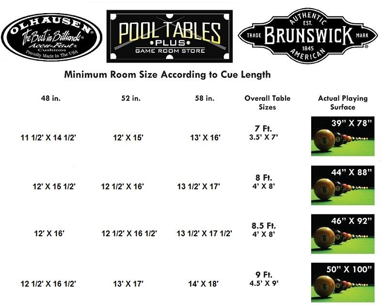 Room Size Chart Pool Tables Plus Daytona Beach Fl